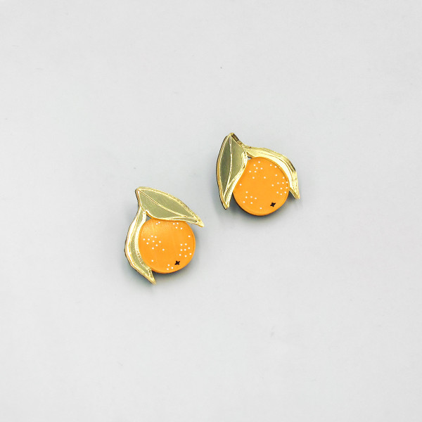 Mini Orange Studs by Wolf and Moon at Of Cabbages and Kings