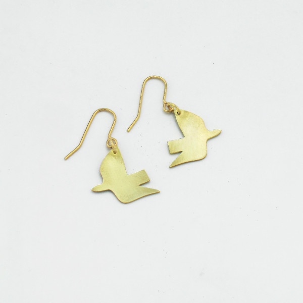 Dove Earrings - Brass by Pivot at Of Cabbages and Kings