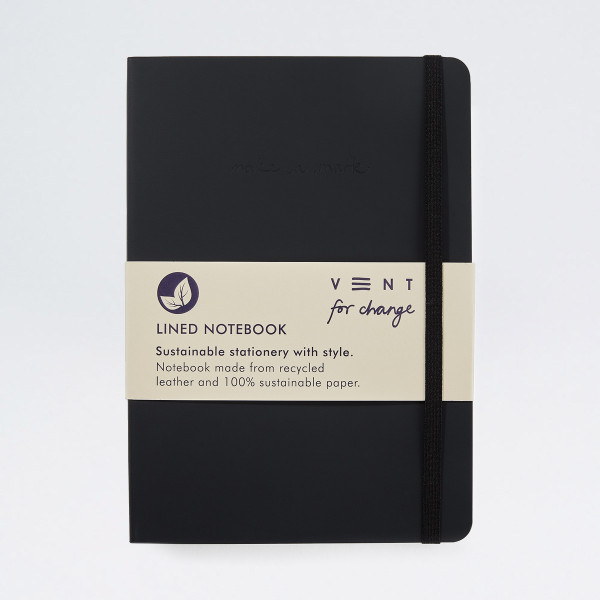Recycled Leather Lined A5 Notebook - Charcoal Grey by VENT at Of Cabbages and Kings
