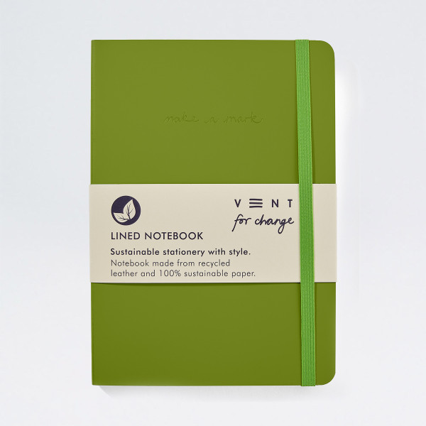 Recycled Leather Lined A5 Notebook - Green by VENT at Of Cabbages and Kings