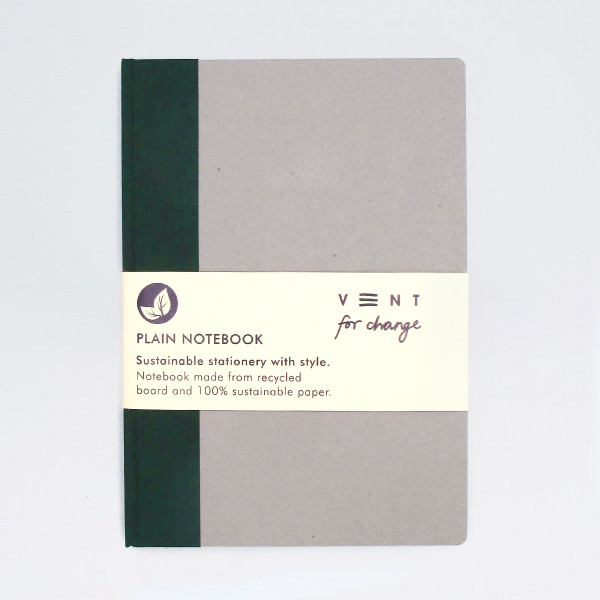 Sustainable Plain A5 Notebook - Green by VENT at Of Cabbages and Kings