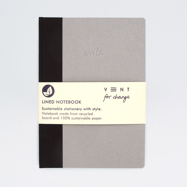 Sustainable Lined A5 Notebook - Black by VENT at Of Cabbages and Kings