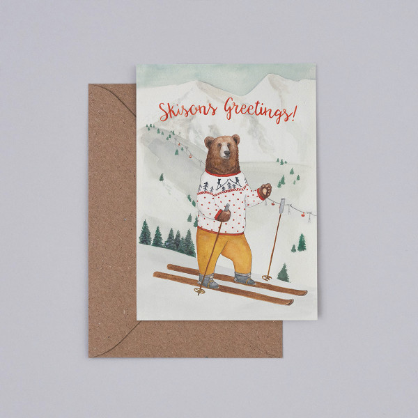 Skisons Greetings Christmas Card by Mister Peebles at Of Cabbages and Kings