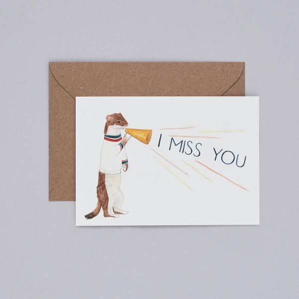 I Miss You Card Card by Mister Peebles at Of Cabbages and Kings