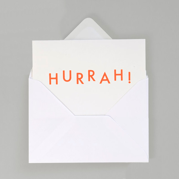 Hurrah! Typographic Card by Ola at Of Cabbages and Kings