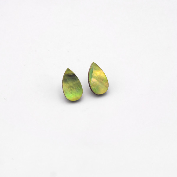 Raindrop Studs - Olive by Wolf and Moon at Of Cabbages and Kings