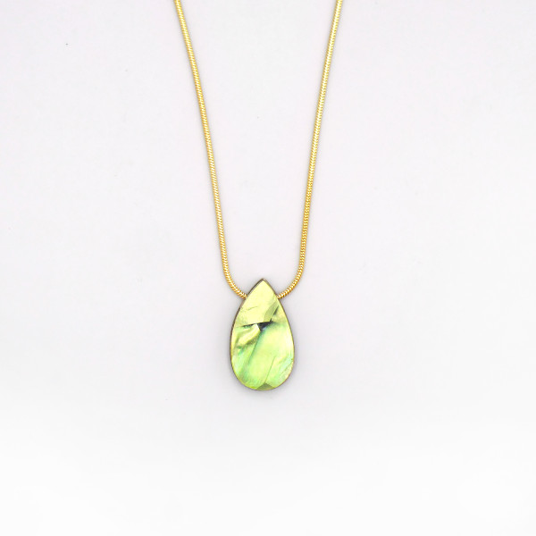 Raindrop Necklace - Olive by Wolf and Moon at Of Cabbages and Kings