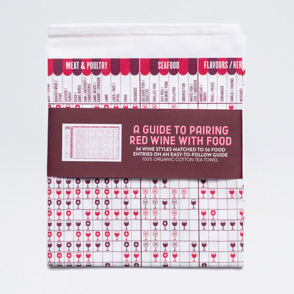 A Guide to Pairing Red Wine with Food Tea Towel by Stuart Gardiner Design at Of Cabbages and KIngs