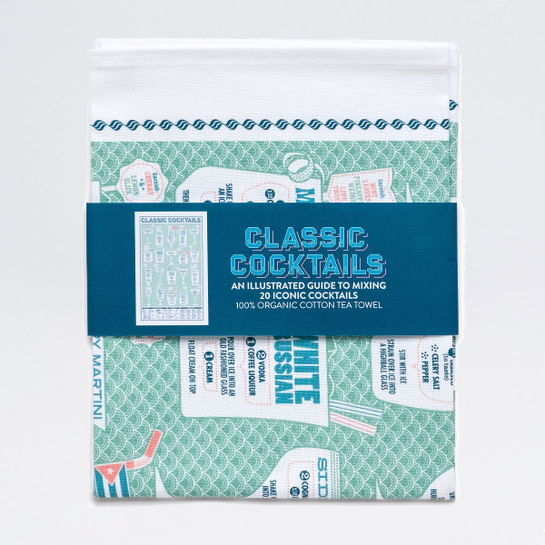 Classic Cocktails Tea Towel by Stuart Gardiner at Of Cabbages and Kings.