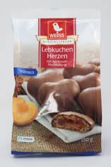 Weiss Lebkuchen Milk Chocolate Herzen with Apricot Filling Gingerbread Cookies