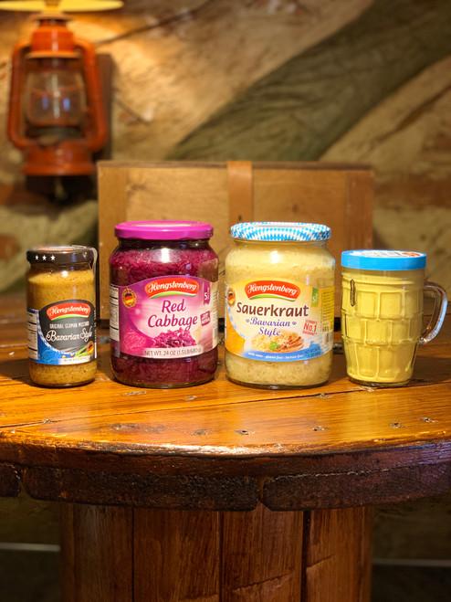 Hengstenberg 4 Pack Bundle Red Cabbage/Bavarian Style Sauerkraut/Bavarian Mustard/Medium Hot Mustard