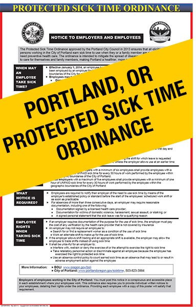 Portland Protected Sick Time Ordinance Poster