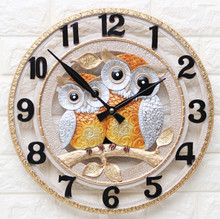 HW15022019A Interior wall clock owl (large) / Noiseless clock