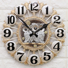 HW15022019B Interior wall clock owl (large) / Noiseless clock