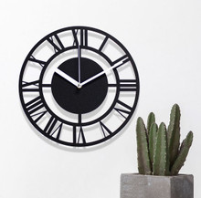 HW15022019C  Simple X Roman black wall clock