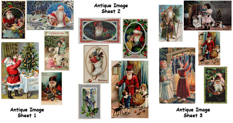 Antique imagery of Santa, Holiday decorating etc. for collage, mixed media, artwork