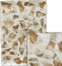 """#21203 Architectural Fibers, """"Linen Bark Montage""""  22"""" x 31"""" Combining both the """"Natural Linen Bark"""" and the """"Bleached Linen Bark"""", this piece is a montage of the two colors of this unusual organic fiber.  Fibers  are applied to a heavy base of handmade paper pulp.  Great for book covers, collage/montage work or as a background for other artwork."""