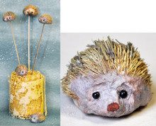 """66440 Hedgehogs (On a Stick)  Box of 1 dz. Box of 12 little Hedgehogs (about 1"""" - 1-1/2"""").  They come on a thin bamboo stick and can be easily popped off in you don't want the stick."""