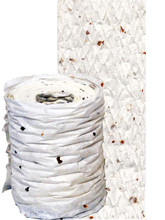 "04147 Flora & Fiber Textured Paper Ribbon, ""White Birch"" Like the papery tree bark it is named after, the alabaster white textured ribbon has various bits & pieces of botanical fiber embedded in the paper ribbon"