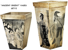 "#33625 ""Ancient Orient"" Vases, Set/2 Wood Vases with imagery of Old China"