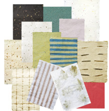 """ODDS & ENDS Handmade Papers An assortment of interesting handmade papers that just don't fit into any of our many """"collections""""  Different patterns, colors, textures, thicknesses, fibers, etc.  Some are very limited"""