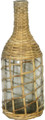#10065 Beach Glass & Rattan Wrapped Jug Bubbly beach glass jug has been hand wrapped with strips of natural rattan.  Hand crafted beach decor at its best!