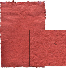 "61301 Lupa Handmade Paper, ""Deep Red""  24"" x 36"" A deep  ruby red Sheet with a textured, nubby surface - lots of visible fibers"
