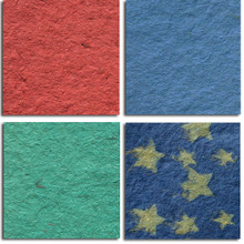 """""""LUPA"""" Handmade Papers  - 4 Colors     24"""" x 36""""      Large, almost shaggy sheets of handmade paper provide lots of textural interest."""