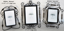 #928464 Parisian Desk Frames - Set/3 Delicate, beaded metal wire swirls & coils around glass image area in 3 unique styles.  SAVE 67% Off Original Price
