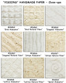 """Visions"" Handmade Papers Pattern & texture define this collection of very unusual handmade papers.  Geometric shapes defined with pulp & ""negative space"" in either ""Alabaster"" white or ""Natural Fiber"" pale sepia tones."