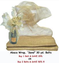 """#36208-BR  """"Sand"""" Abaca Wrap - 30 yd Bulk Roll - - - - -  or #236208 """"Sand"""" Abaca Wrap, Set/2, 30 yd Bulk Rolls"""