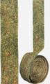 """#62503 """"Gilded Petals & Vine"""" Botanical Ribbon    2"""" wide Mossy green background with bits of gilded flower petals & multiple long (3"""") strands of thin, gold gilded vines meandering through the gilded petal.    Available by-the-yard, or in a 3 yd. """"Artist Roll"""", or the 10 yd """"Bulk Roll"""""""