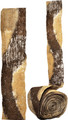 """#62405 """"Cinnamon Bark"""" Botanical Ribbon -3"""" wide -  A meandering  path of alternating colors of mocha brown & pale wheat in chopped plant fibers on a base of abaca/banana fiber, 3"""" ribbon.  Available by-the-yard, or in a 3 yd. """"Artist Roll"""", or the 10 yd """"Bulk Roll"""""""