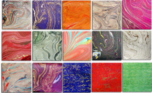 """""""Firenza Marbelized"""" Papers  22"""" x 28""""        15 Different papers of swirling, dancing & melding colors.  Some with specks & accents of gold"""