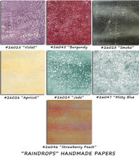 """""""RAINDROPS"""" Handmade Papers    24"""" x 38""""      A beautiful, feathery paper in 7 yummy colors.  Originally made by putting the thin wet pulp in the rain to create 100's of tiny holes"""