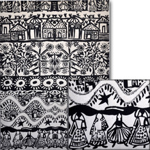 "#10902 Speakeasy Paper, ""Village Life II"" The Speakeasy papers are individually hand screened onto a handmade paper sheet - and you will find little irregularities in each sheet, adding to the ambiance of each piece.  ""Village Life II"" uses black ink on white, with images of native huts, women in folk attire, birds, floral and more, making this visual record of village life."