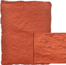 """#89177 - Cabo Crushed, """"Persimmon/Slate"""" Deep persimmon/orange, medium weight paper is highly textured.  Pulp has random mocha brown fibers scattered throughout,"""