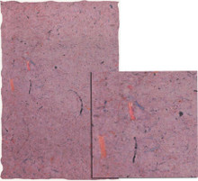 "#26313 Caribbean Handmade Paper, ""Orchid""  A background of shades of violet and berry are accented with a liberal scattering of fiber bits in persimmon and dark violet on a slightly nubby surface.  Deckle edges"