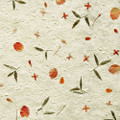 "#27040 Coral Seas Handmade Botanical Paper - 'Petals & Pods', ""Summer  Bougainvillea""  Rosy bougainvillea ""petals"" and slender green leaves create color on the pulp surface"