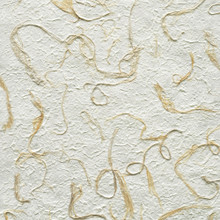"#27025 Coral Seas Handmade Botanical Paper - 'Foliage & Fibers', ""Coco Husk Swirls"" Long coconut palm fibers swirl and twist across the surface of an off-white paper pulp"
