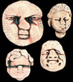 """Theater Porcelain Faces A stranger group would be hard to find.   Our porcelain faces were inspired by characters the artist had either seen or known (scary thought).  All are  are handpainted and are available either individually or as a """"troupe"""""""