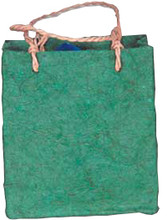 """#61402 Lupa Coconut Fiber Bag, """"Green"""" - 1 dz.  Rustic  coconut fiber bag in a forest """"Green"""" color measures 5-1/2' high, 6"""" wide, with a 2"""" gusset for extra interior space. and is very strong.   The Lupa Coconut Paper is thick and nubby and makes a very little container.   """"Bail"""" handles made with twisted recycled kraft paper finish the bag."""