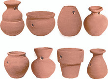 "#98499-1 Terracotta Potlets Set of 8 different potlets in rustic terracotta have a small hole so that they can be hung or attached.  Approx 2"" in size"