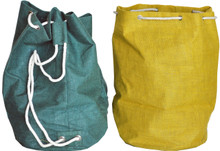 """#958146 Giant Tote Bags, Set2 19"""" x 21"""" Totes made of tightly woven burlap have a water resistant liner inside and 3/8"""" cording through metal grommets so that the bags can be cinched up tightly.  Cording divides into two straps on the back so that it can also be carried as a backpack.  Set/2 includes one Tote in """"Hunter"""" & one in """"Ocher""""."""