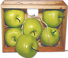 """66371 Green Apples in Crate A """"farmer's market"""" wood crate holds six 3"""" lifesize green apples, nestled in a bed of natural raffia.  Made of lightweight foam, these are so realistic and are ideal for using in creative artwork or decor projects."""