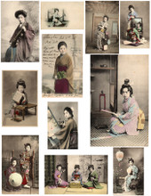 #22235 Oriental Imagery Composite Sheet 11 different images from the early 1900's of traditional Oriental vignettes.