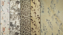 "#35010  50 sheets of our exclusive tissue patterns, 10 pcs. each of all 5 patterns - ""Fresh Fish"", ""Giraffe"", ""Pawprints"", Western Birch Bark"", ""Cascade Fern""."