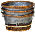 "#36320  Bark & Tin ""Mini Buckets""  Set/3 Nested Set/3 ""buckets"" of weathered tin and natural Gugo Bark at 8-1/2"" x 6"" x 5"" are pretty much perfect for anything from fancy soaps to un-shelled nuts!"