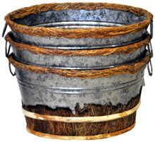 """#36320  Bark & Tin """"Mini Buckets""""  Set/3 Nested Set/3 """"buckets"""" of weathered tin and natural Gugo Bark at 8-1/2"""" x 6"""" x 5"""" are pretty much perfect for anything from fancy soaps to un-shelled nuts!"""