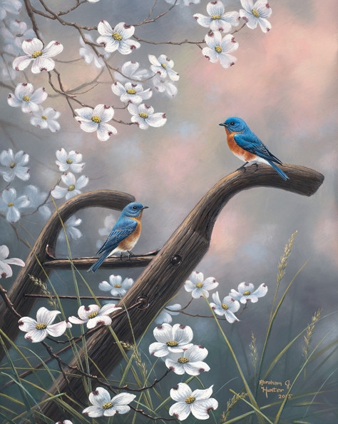 Welcome Home Blue Birds By Abraham Hunter Feathered